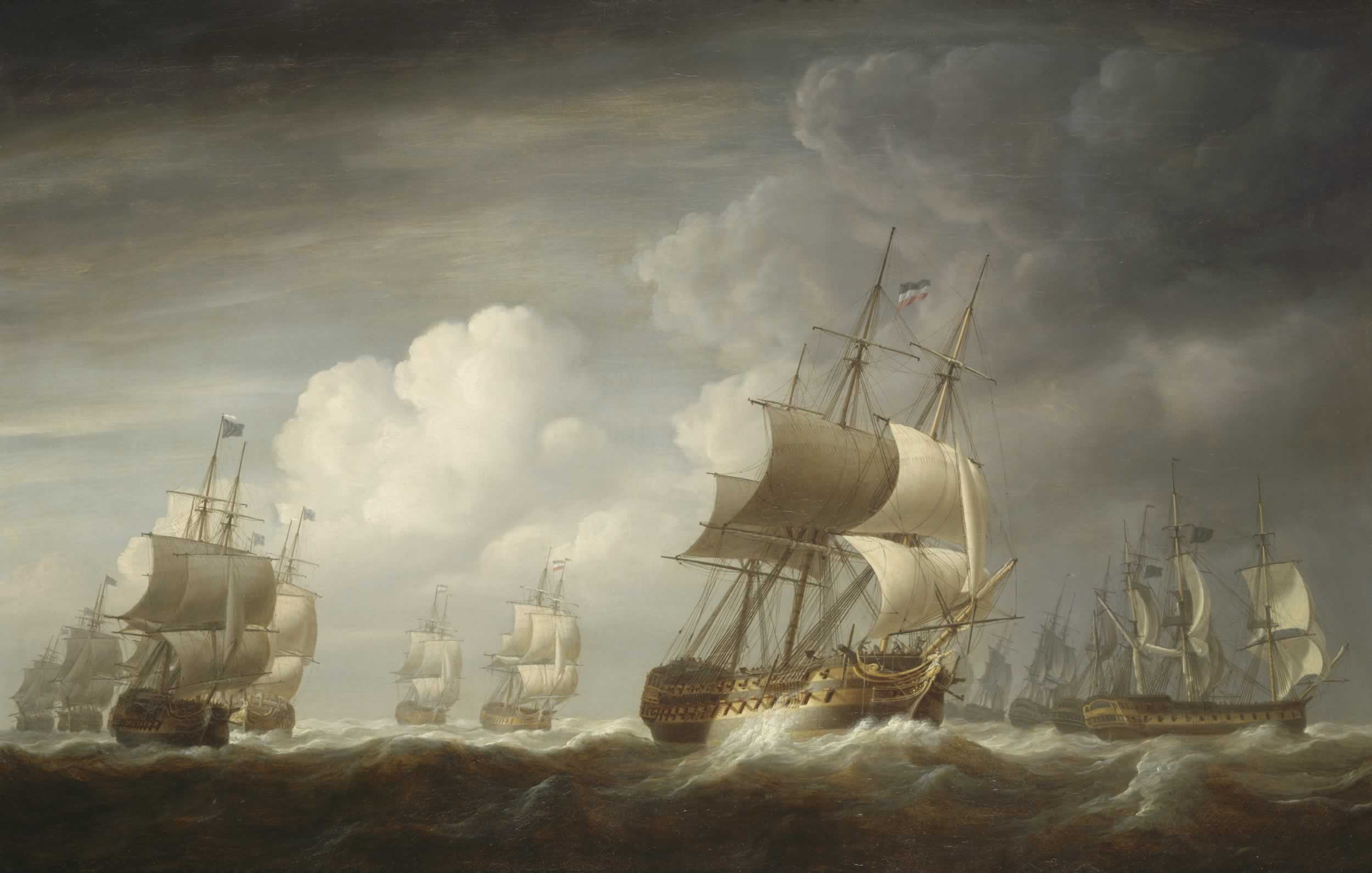 A_fleet_of_East_Indiamen_at_sea (Lord Hawkebury Wiki)